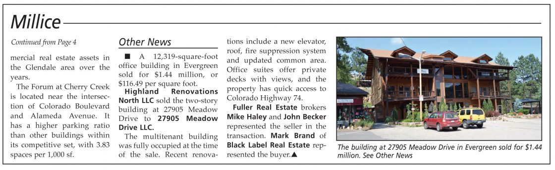 Haley/Becker Team Sell Evergreen Asset